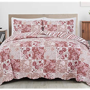 3 Pieces Microfiber Reversible Queen//King Quilt Set with Shams Floral Patchwork