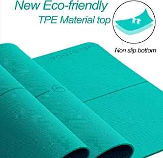 JELS Yoga Mat 1/4 inch (6mm) Extra Thick Large Non Slip Exercise Mat Eco Friendly TPE with Carrying Straps,High Resilience Workout Mat for Women Men,72''L26''W Pilates Mat for Home Gym Fitness