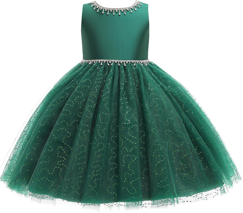 Weileenice Flower Girl Vintage Sequin Dress Kid Sparkly Rhinestone Tulle Formal Wedding Dresses