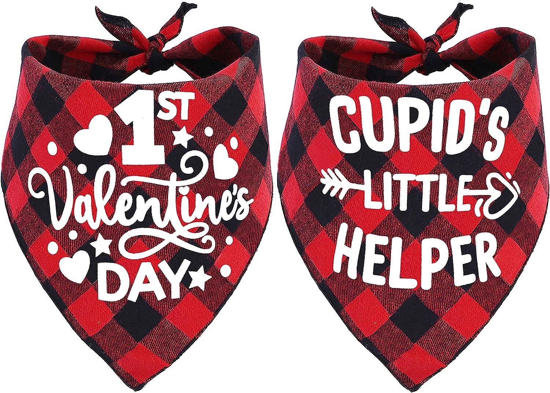 Pohshido Max 79% OFF Opening large release sale 2 Pack Valentine's Dog Bandana B Buffalo Plaid Holiday