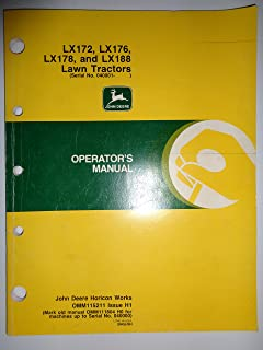 John Deere LX172 LX176 LX178 LX188 Lawn Garden Tractor (s/n 040,001 and up) Operators Owners Manual 6/90 original