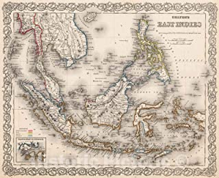 Historic Pictoric Map : East Indies, 1880, Vintage Wall Decor : 54in x 44in