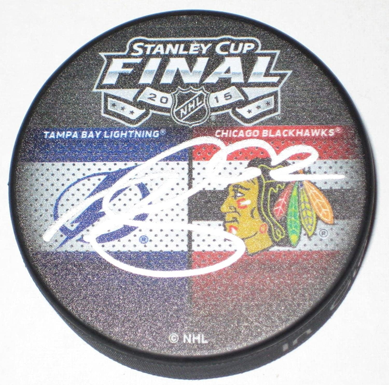 Andrej Sustr Autographed Puck  2015 Stanley Cup Dueling w COA  Autographed NHL Pucks