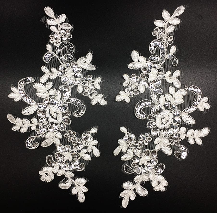 PEPPERLONELY 1 Pair Fine Lace Fabric Patches Embroidered Trim Applique Decor Dress Decoration, Off White with Sequin, 10 X 6 Inch