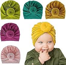 ZHW Baby Turban Hats Turban Bun Knot Baby Infant Beanie Baby Girl Soft Cute Toddler Cap 5 Pack