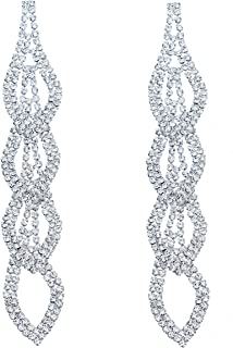 Silver Plated Crystal Rhinestone Wedding Long Chandelier Dangle Earrings for Women