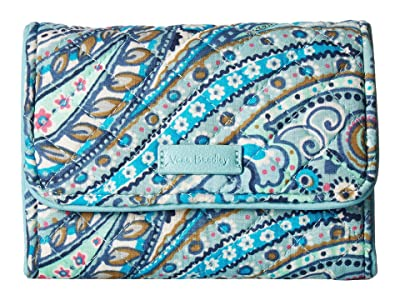 Vera Bradley Iconic RFID Riley Compact Wallet (Daisy Dot Paisley) Wallet Handbags