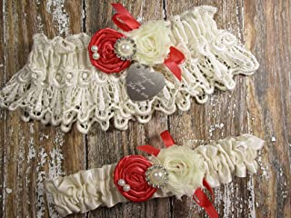 928ae6b7a Ivory and Coral Wedding Garter Set in Lace with Roses and Personalized  Engraving