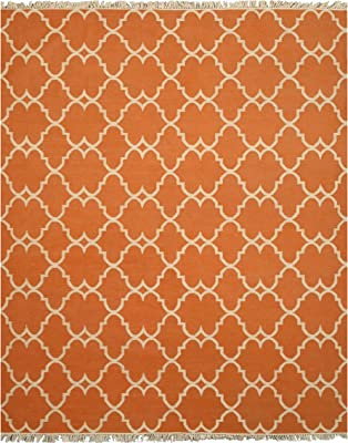 EORC Hand Made Polyester Reversible Moroccan Outdoor Rug, 5' by 8', Orange