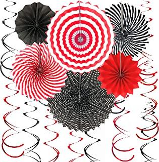 Casino Party Hanging Paper Fans Decorations - Viva Las Vegas Game Night 1st Birthday Wedding Graduation Party Photo Booth Props Backdrops Decorations