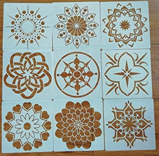 Mandala Reusable Stencil Set of 9 (5x5 inch) Painting Stencil, Laser Cut Painting Template for DIY Decor, Painting on Wood, Airbrush, Rocks and Walls Art (B)