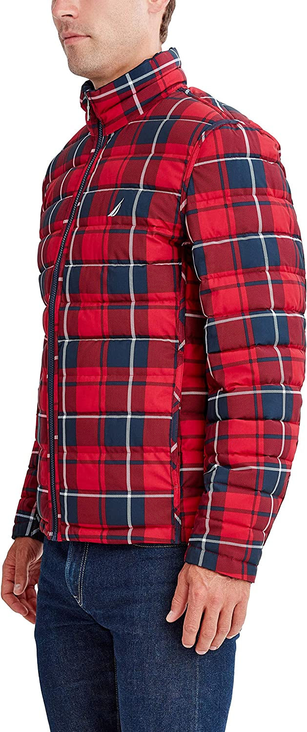 Nautica Men's Reversible Midweight Puffer Jacket, Wind and Water Resistant