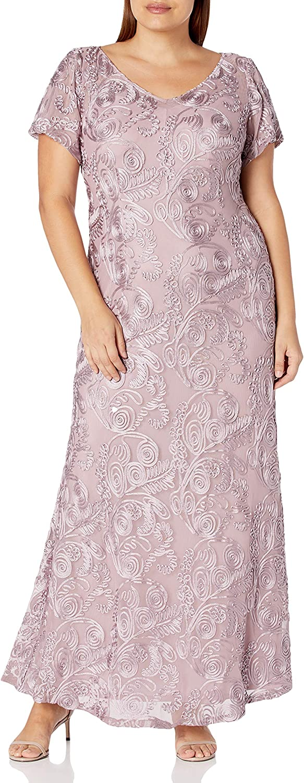 Alex Evenings Women's Plus-Size Long with Houston Mall latest A-line Dress S Rosette