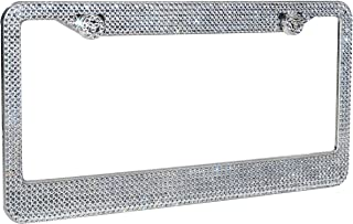 1 Frame BLVD-LPF Clear//White Crystal Rhinestone License Plate ABS Chrome Frame with Crystal Screw Caps