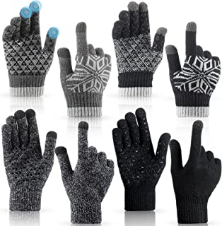 4 Pairs Winter Knit Gloves Touchscreen Warm Gloves Thermal Soft Lining Mittens Cold Weather Gloves Elastic Cuff Non-Slip T...