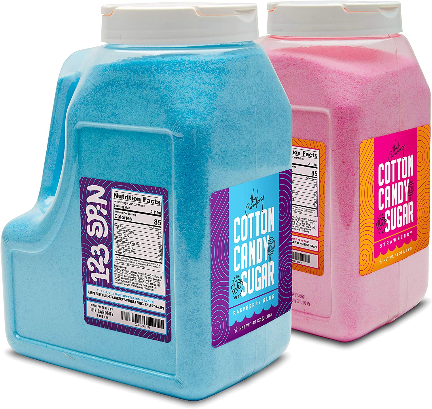 The Candery Cotton Popularity Candy Floss Sugar Stra Pack jars- 2 6lbs 96oz Ranking integrated 1st place