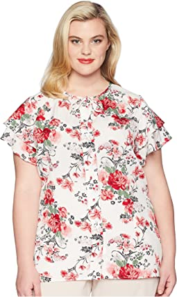 Plus Size Chiffon Cap Sleeve Jeannie Blouse