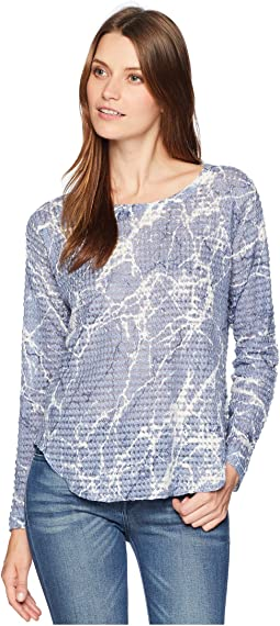 Long Sleeve Marble Print Waffle Top