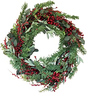 The Wreath Depot Greenwood Berry Winter Wreath, 22 Inches, Enhances Front Door Decor for All Winter Long, Beautiful White Gift Box