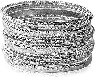 Ensoul Multiple Textured Metal Bracelets & Bangles Set for Women 18Pcs/Set