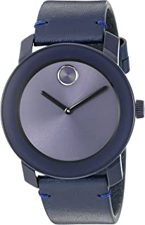 Men's Swiss Quartz Stainless Steel and Leather Watch, Color: Blue (Model: 3600370)