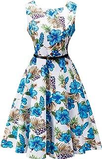 Yeokou Womens Sleeveless Floral Knee Length Cotton Hawaiian Flare Luau Tank Dress