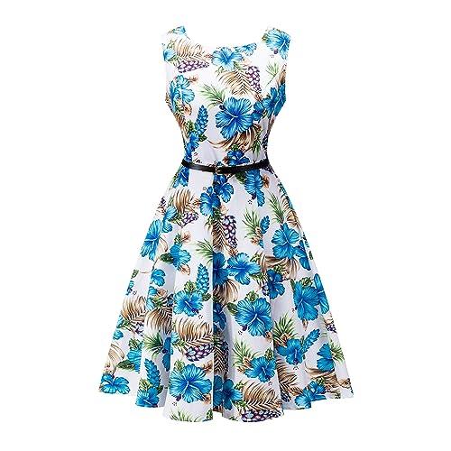 a0ed85d822c4 Yeokou Womens Sleeveless Floral Knee Length Cotton Hawaiian Flare Luau Tank  Dress