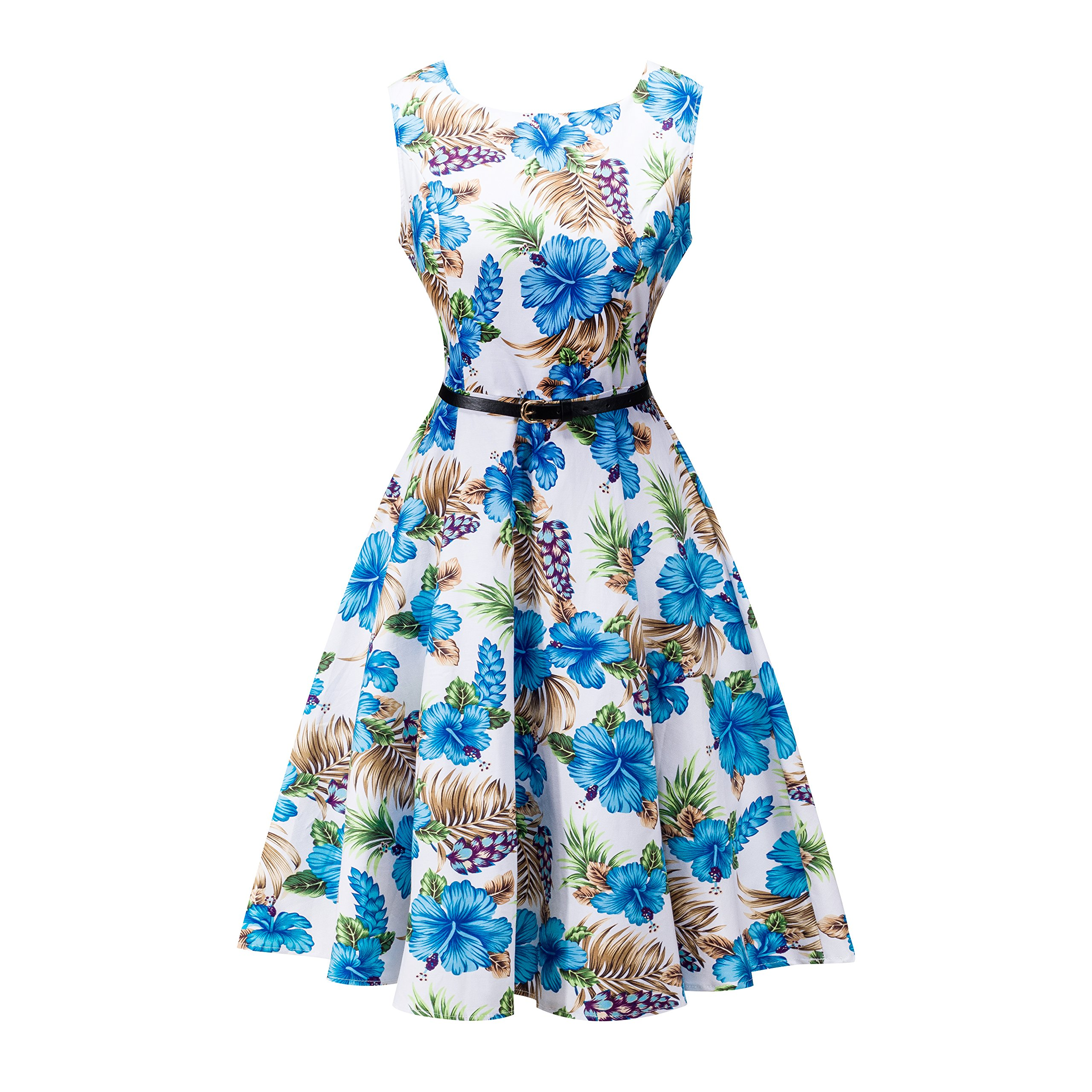 Available at Amazon: Yeokou Women's Sleeveless Floral Knee Length Cotton Hawaiian Flare Luau Tank Dress