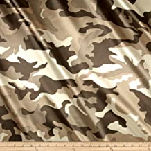 Ben Textiles Charmeuse Satin Camo Fabric by The Yard, Olive Brown
