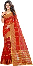 The Fashion Outlets Women's Cotton Silk Manipuri Saree with Blouse (Red and Gold)