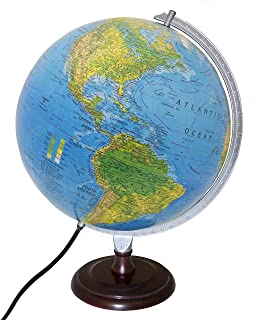 Replogle Toledo Blue Ocean Illuminated Desktop Globe with Hardwood Cherry Finish Base (12