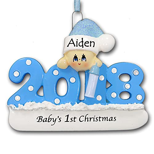 Personalized 2018 Babys First Christmas Tree Ornament 1st Keepsake in Blue for Baby Boy with Santa