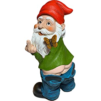 Mood Lab Garden Gnome - Pants Down Gnome - 9.45 Inch Tall Finger Statue - Lawn Garden Figurine