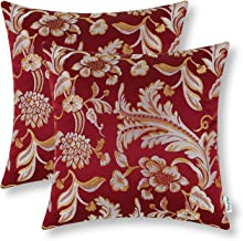 Pack of 2 CaliTime Throw Pillow Covers Cases for Couch Sofa Home Decor Vintage Floral Leaves 18 X 18 Inches Burgundy