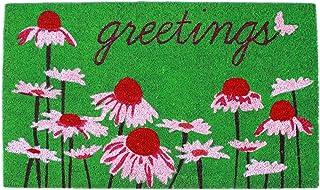 """Liora Manne NTR12206206 Natura Daisy Greetings Green Outdoor Welcome Coir Door Mat, 18"""" X 30"""","""