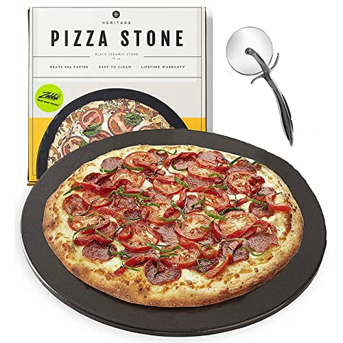 Heritage Pizza Stone, 15 inch Ceramic Baking Stones for Oven Use - Non-Stick, No Stain Pan & Cutter Set for Gas, BBQ & Grill - Kitchen Accessories & Housewarming Gifts w/ Bonus Pizza Wheel - Black