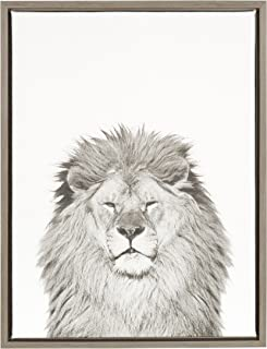 Kate and Laurel - Sylvie Lion Animal Print Black and White Portrait Framed Canvas Wall Art by Simon Te Tai, Gray 18x24