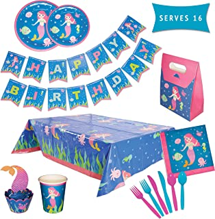 Mermaid Party Pack – Mermaid Birthday Party Supplies – Happy Birthday Banner, Disposable Party Plates, Tableware, Cupcake Toppers & Party Favor Boxes – 162 Piece Set Serves 16 Guests