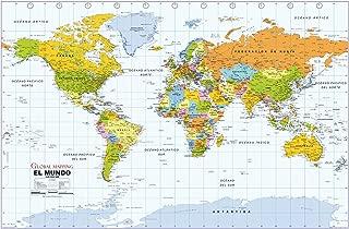 Political World Wall Map, Spanish Language - 40.75