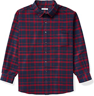 Amazon Essentials Men's Big & Tall Long-Sleeve Patterned Oxford Shirt with Pocket fit by DXL