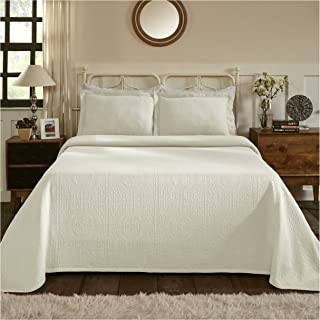 Superior 100% Cotton Medallion Bedspread with Sham, All-Season Premium Cotton Matelassé Jacquard Bedding, Quilted-look Floral Medallion Pattern - Twin, Ivory