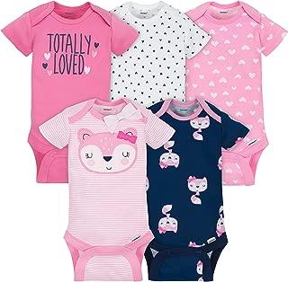 Gerber Baby Girls 5 Pack Onesies, Pink Fox, 0-3