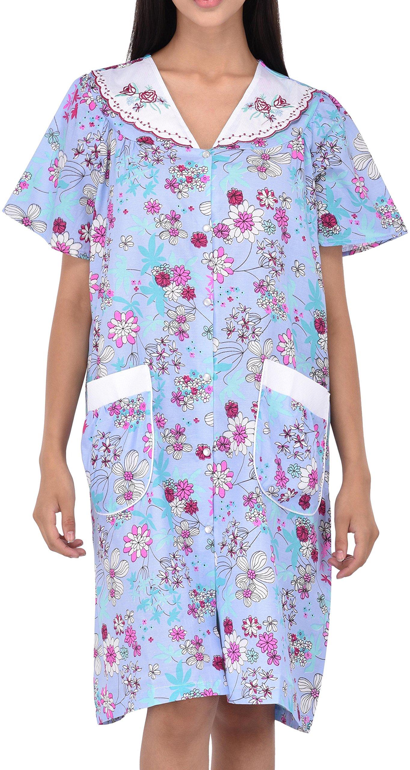 Available at Amazon: EZI Women's Snap-Up Short Sleeve Cotton House Coat