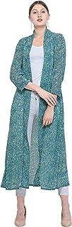 Women Green Geometric Print Longline 3/4th Sleeve Shrug