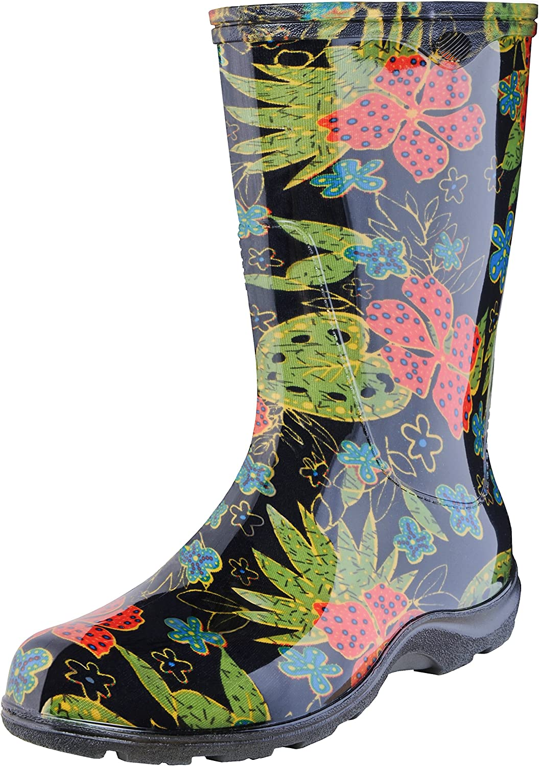 Principle Plastics Sloggers Women's Rain and Garden Boot with All-Day-Comfort Insole, Midsummer Black Print-Wo's Size 8-Style 5002BK08