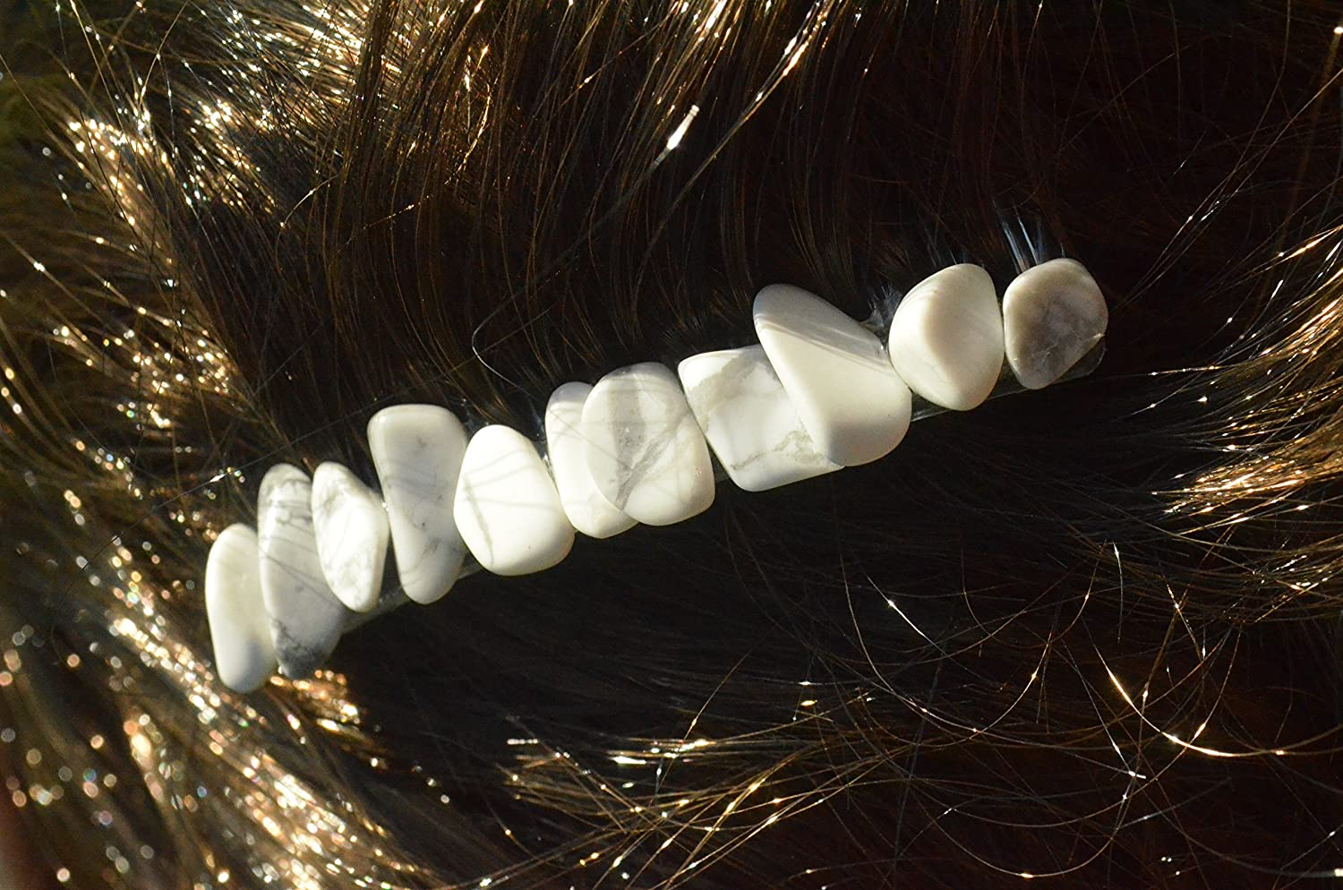 White Cheap super special price Howlite Stone Hair Combs Portland Mall of Quantity 2