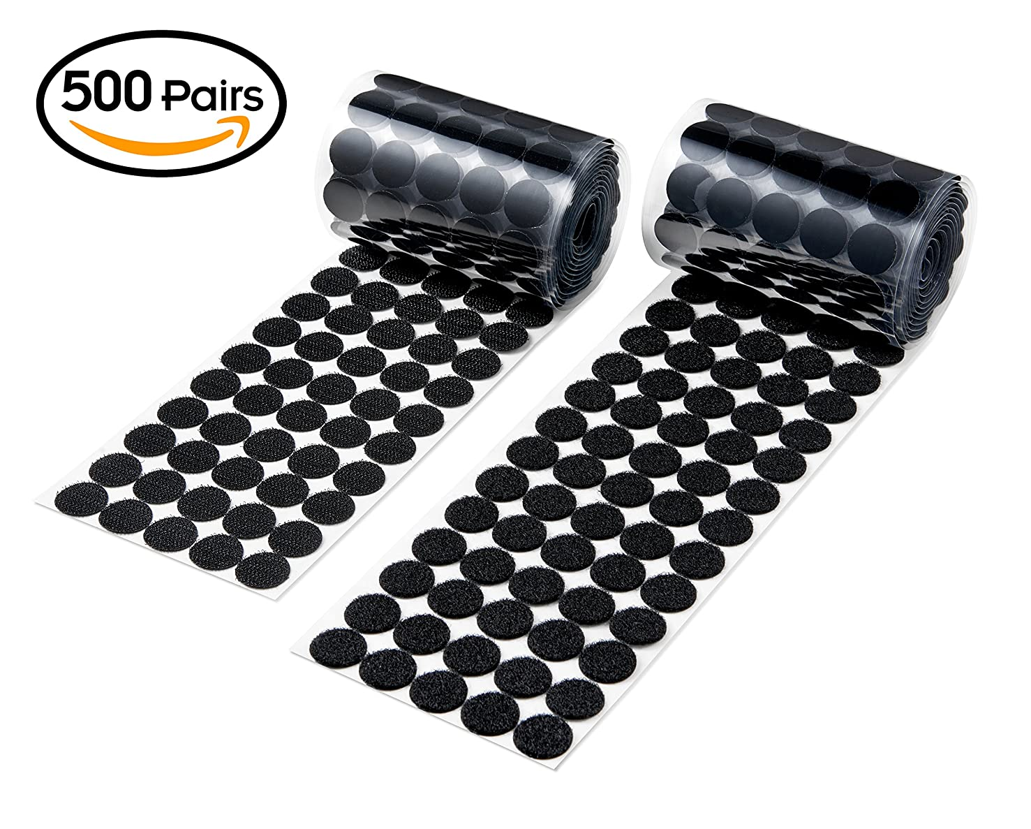 Heze 1000 pcs (500 Pair Sets)20mm Diameter Sticky Back Coins Hook & Loop Self Adhesive Dots Tapes (Black, 1000pcs)