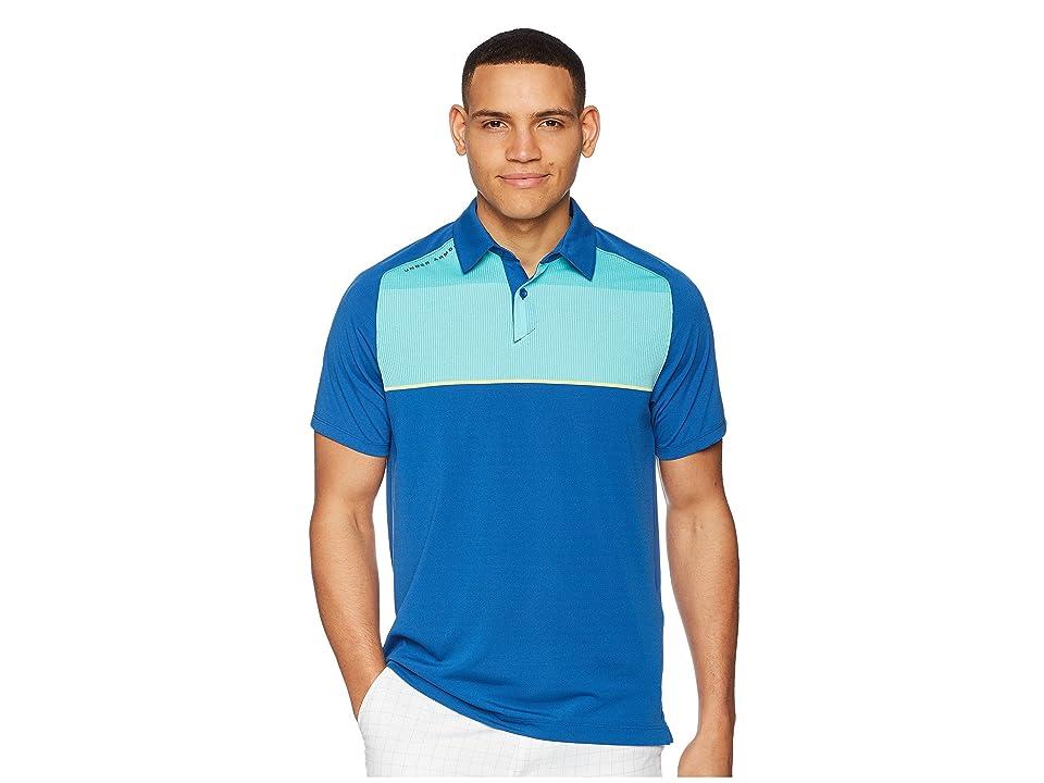 Under Armour Golf Threadborne Infinite Polo (Moroccan Blue/Tropical Tide/Rhino Gray) Men