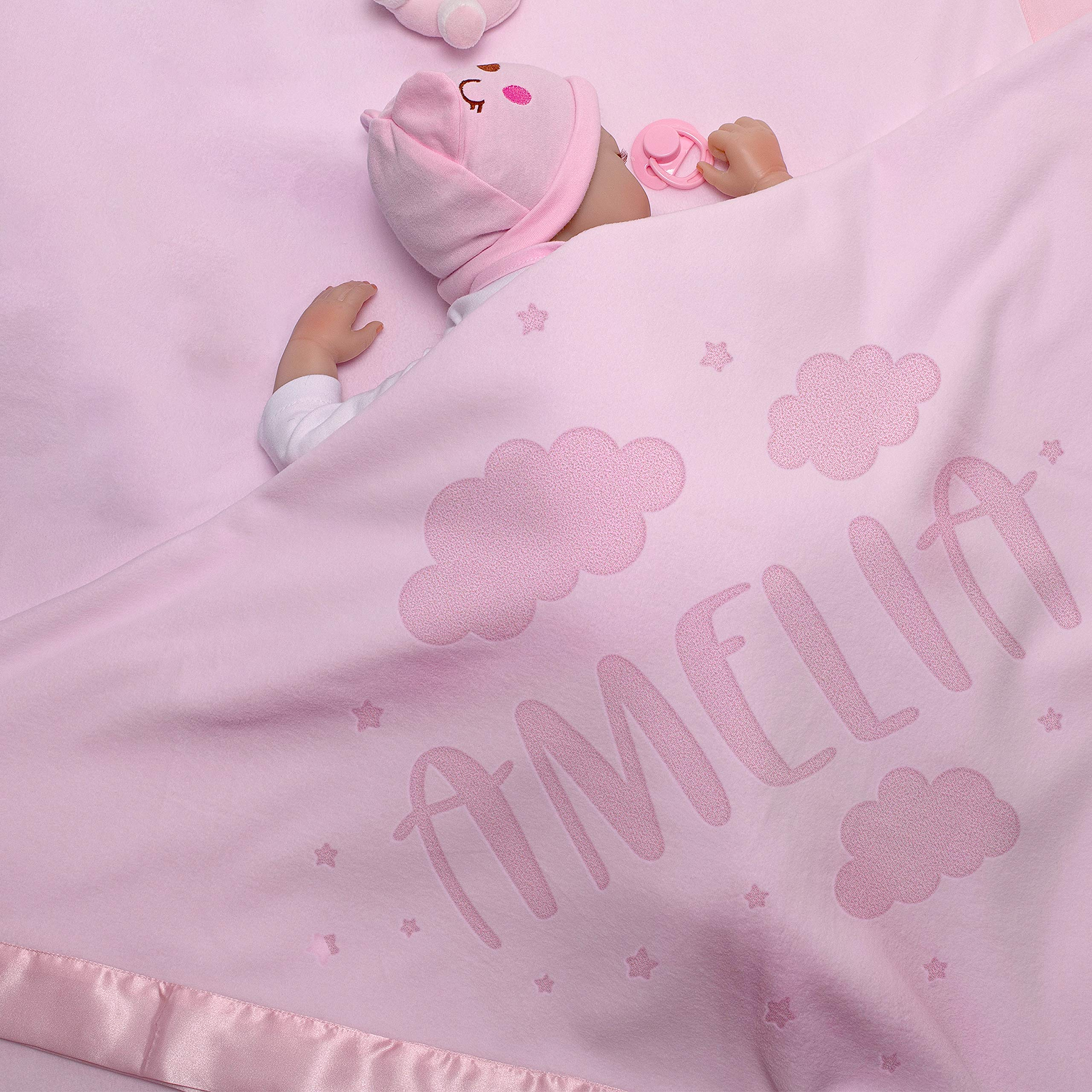 Size 88x88 C... Personalised Baby Gift Blanket with Elephant for Boys and Girls