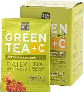Sencha Naturals, Green Tea +C, Citrus Ginger, Box of 10 Packets   Effervescent Drink Powder Mix with Organic Matcha Green ...